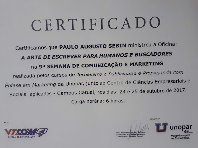 Certificado oficina de marketing digital e SEO em Londrina - oficina Unopar