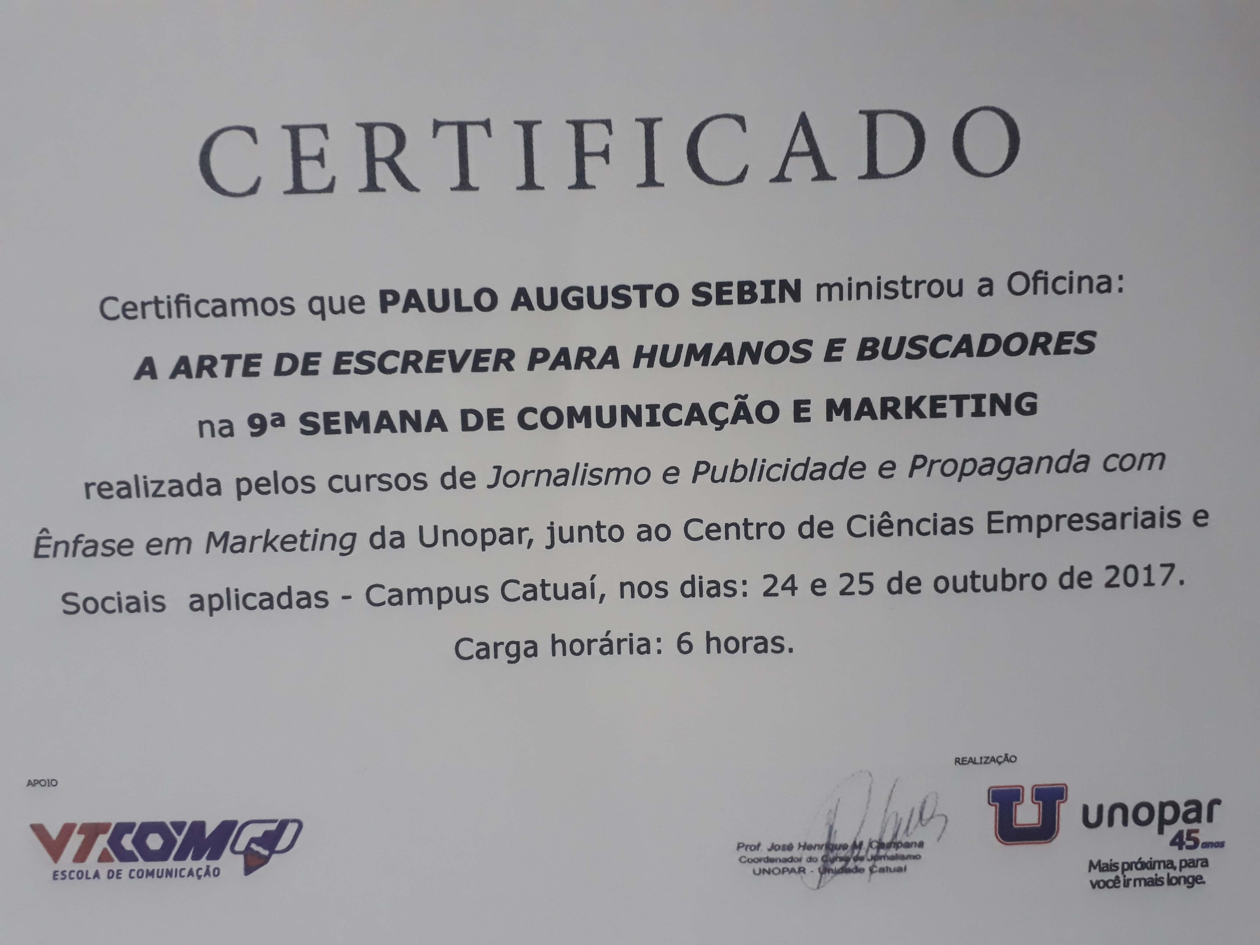 Certificado ministro da oficina Escrever para Humanos e Buscadores - Jornalismo Unopar