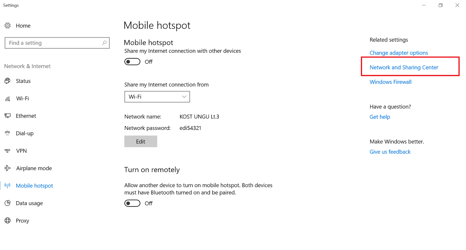 Network And Sharing Centre - Cara Mengatasi Mobile Hotspot di Windows 10
