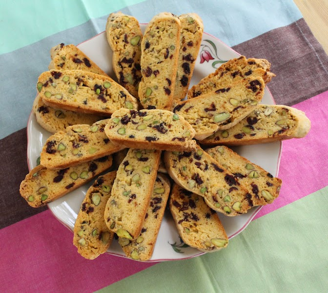 Food Lust People Love: Chewy dried cranberries lend both sweetness and tartness to these crisp Italian-style cookies and the pistachios! What can I say about the pistachios? Their color, flavor and nutty goodness elevate plain cranberry biscotti to fabulous.