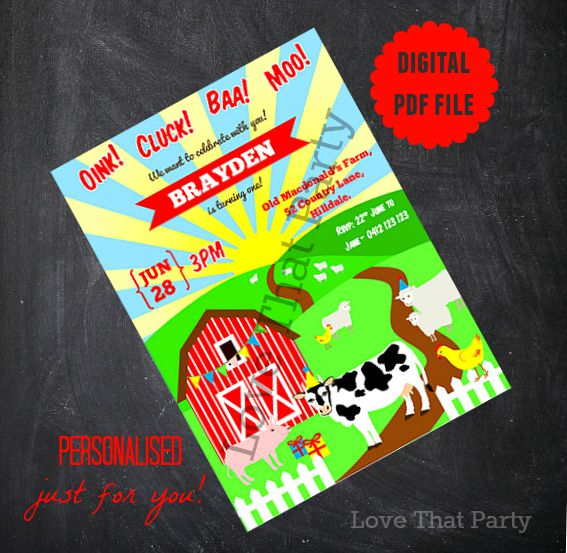printable farm animalinvitation, birthday invitation, farm animals, barnyard, farmyard, 1st birthday, invitation
