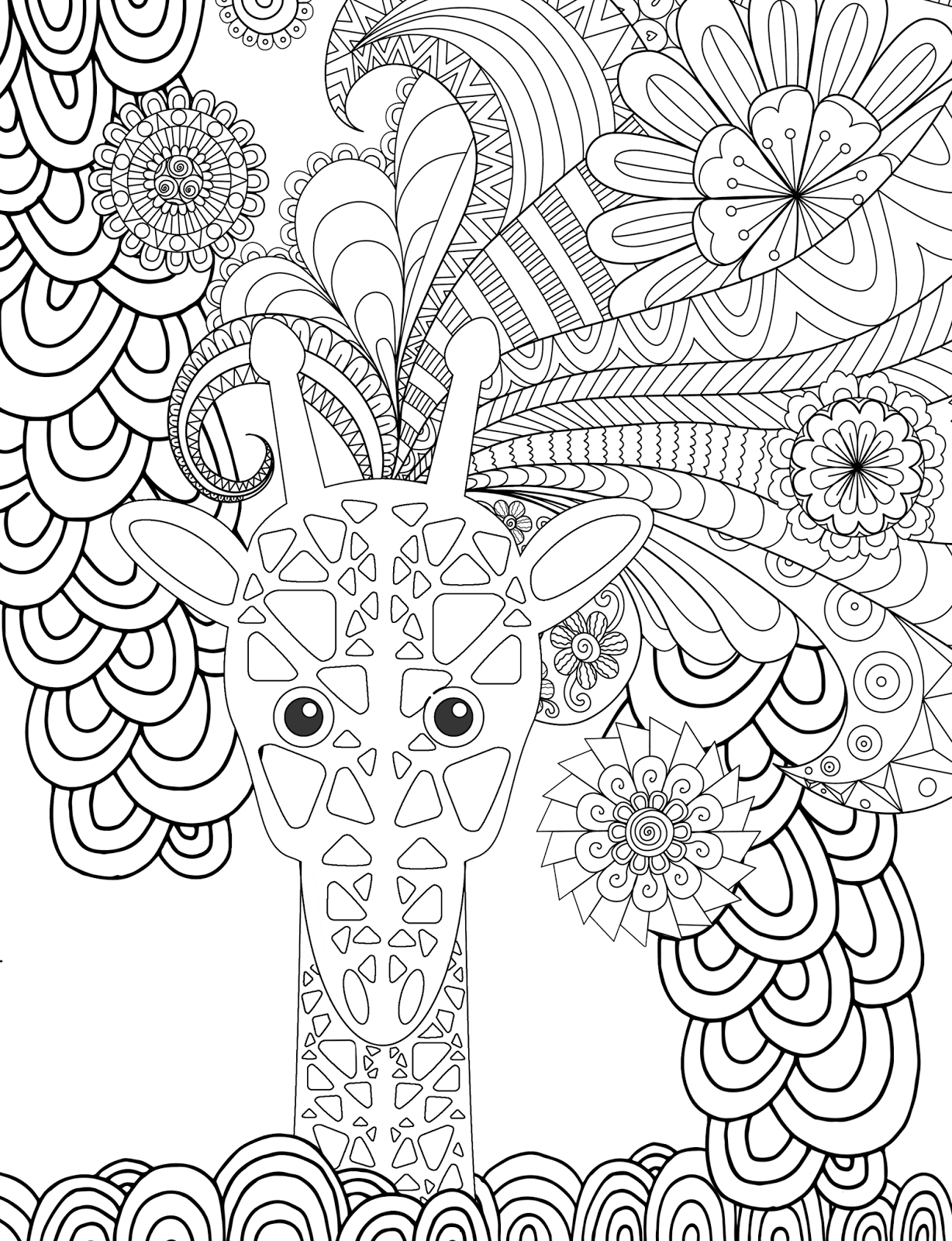 Coloring pages for adults giraffe - Here Is An Animal Adult Coloring Page To Print For Free