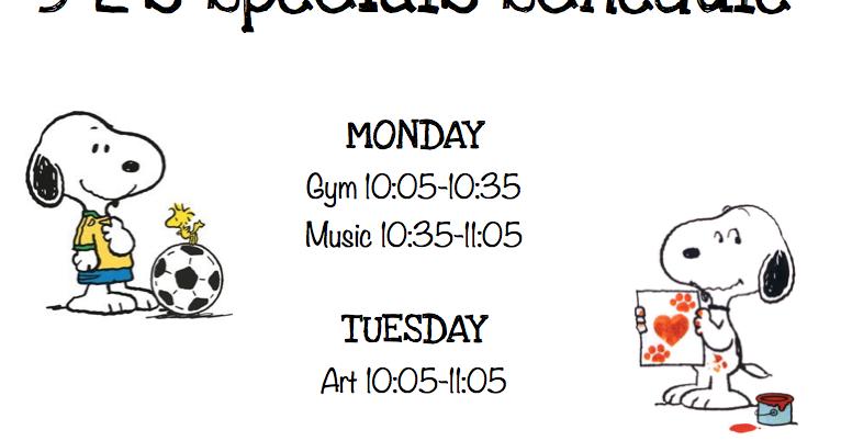 5-2's News!: Special's Schedule