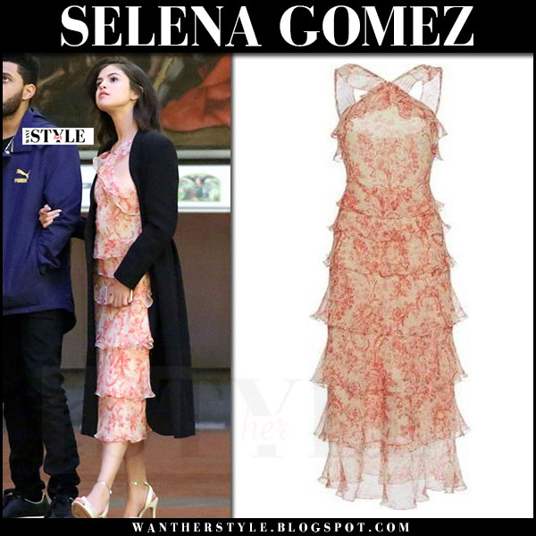 Selena Gomez in peach printed chiffon midi dress vilshenko what she wore italy