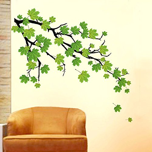 Decals Design 'Green Autumn Leaves Branch' Wall Sticker (PVC Vinyl, 50 cm x 70 cm, Green)