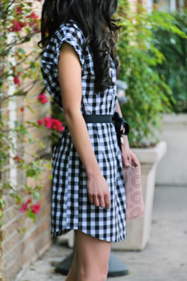j. crew gingham short sleeve shirtdress black white vintage outfit