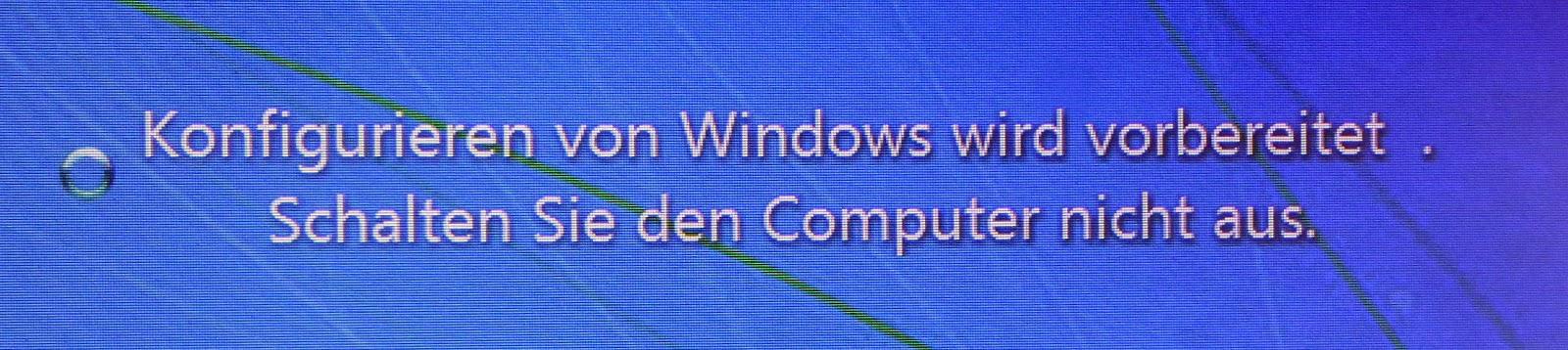 windows wird vorbereitet geht nicht weg