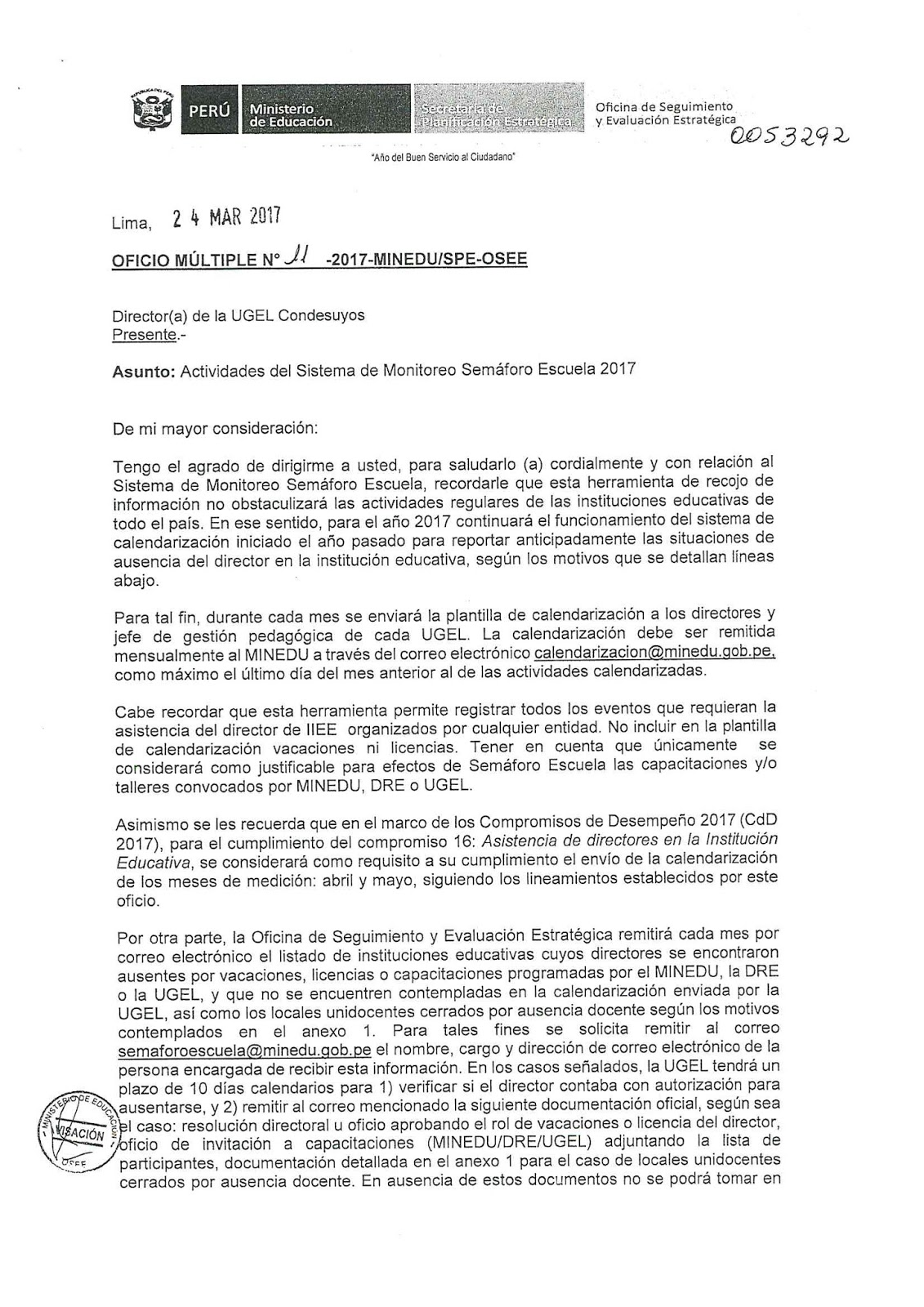 UGEL CONDESUYOS: URGENTE SISTEMA DE MONITOREO SEMAFORO