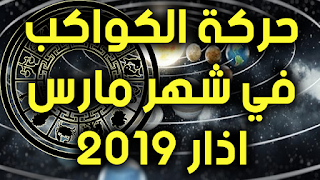 حركة الكواكب في شهر مارس اذار 2019