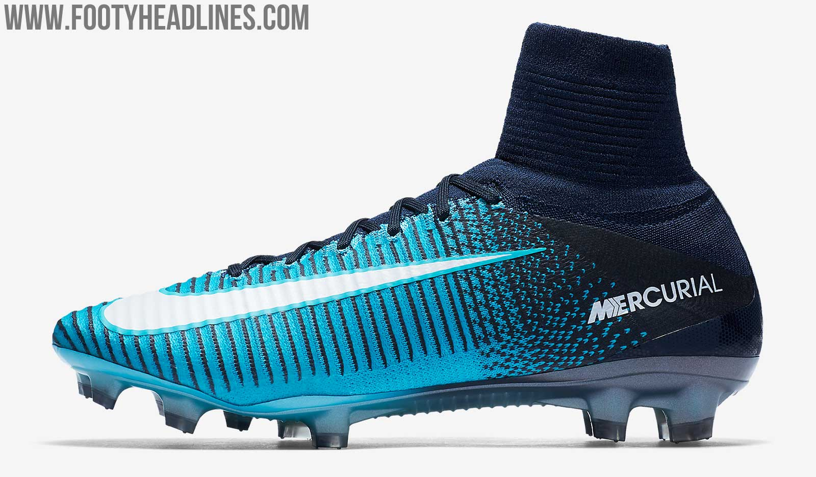 This image shows the turquoise Ice Pack colorway for the Nike Mercurial  Superfly V football boot.