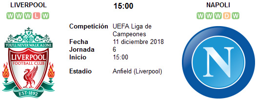 Liverpool vs Napoli en VIVO