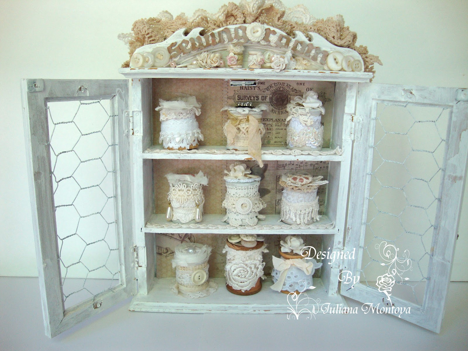 ShabbyChicJCouture : Sewing Room Cabinet - Vintage Shabby Chic