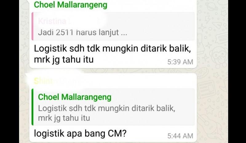 Percakapan WA Choel Mallarangeng soal logistik 2511