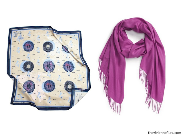 Two scarves, in navy, ivory and hot pink