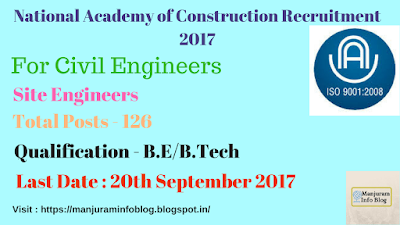 National Academy of Construction Recruitment 2017 - Site Engineers, Hyderabad
