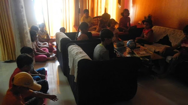 Kids learning meditation during The Science and Fun Learning Camp 2014