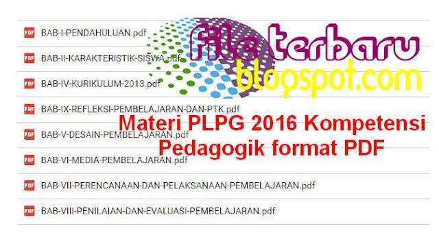 Download Gratis dan Lengkap Materi PLPG 2016 Kompetensi Pedagogik format PDF