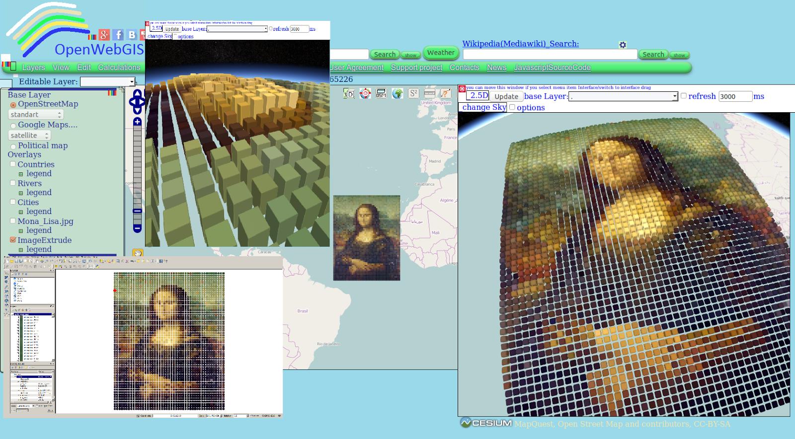 OpenWebGIS is free online GIS: Mona Lisa on the map of