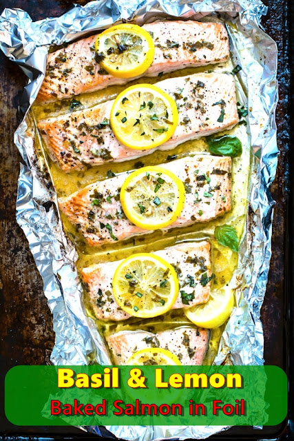 Basil And Lemon Baked Salmon in Foil