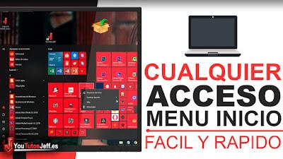 Personalizar menú de Inicio Windows 10 - Añadir cualquier acceso directo al menú de inicio