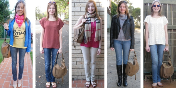 5 ways to wear a chloe marcie shoulder bag with jeans  | away from blue blog