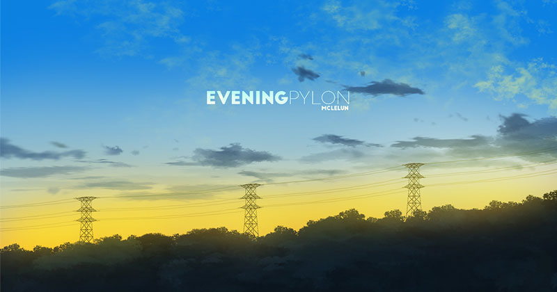 Evening pylon photoshop painting