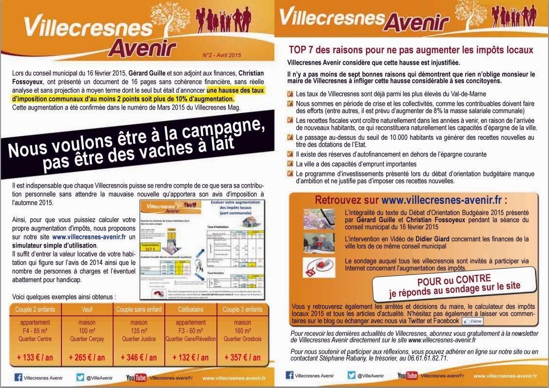 Villecresnes Avenir N°2 - Mars 2015