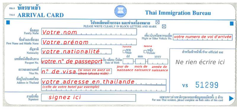 Carte Immigration Thailande.Tm 6 Carte D Arrivee Et De Depart
