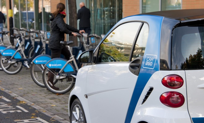 Car2go Smart car and London cycle-hire bikes