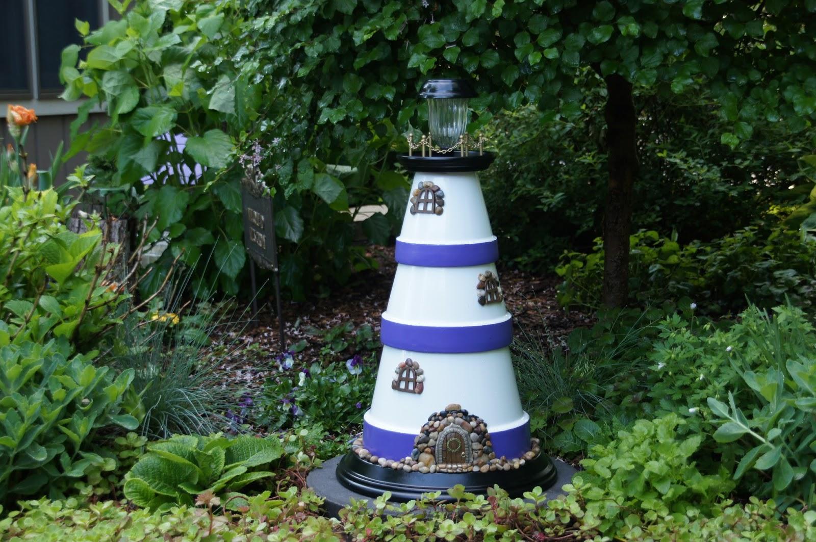 Home and Gardening With Liz: Clay Pot Lighthouse Plant Pot Lighthouse on clay pot lighthouse, diy flower pot lighthouse, plant container lighthouse, cat pot lighthouse,
