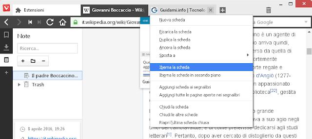 Vivaldi browser ibernazione