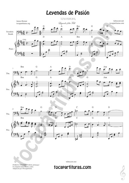 1 Legends of the Fall Sheet Music for Trombone and Euphonium on Bass Clef