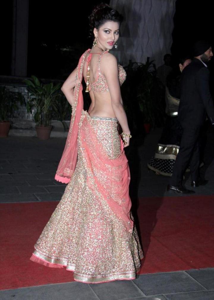 Actress Urvashi Rautela Hot Hip Navel Show Photos In Pink Dress