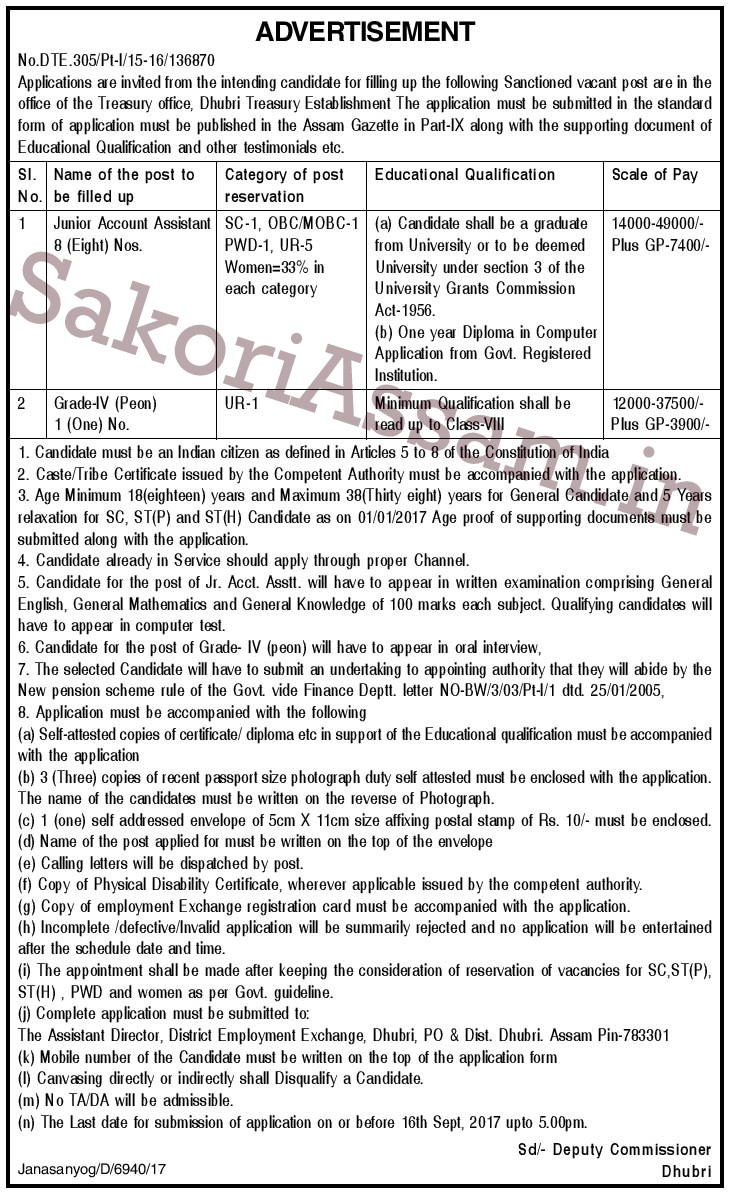 application for the post of account assistant
