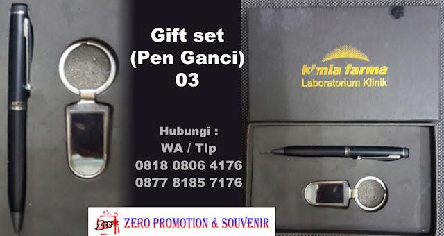 Gift Set Pulpen & Ganci Besi, Giftset 2 in 1, Souvenir Promosi 2 in 1