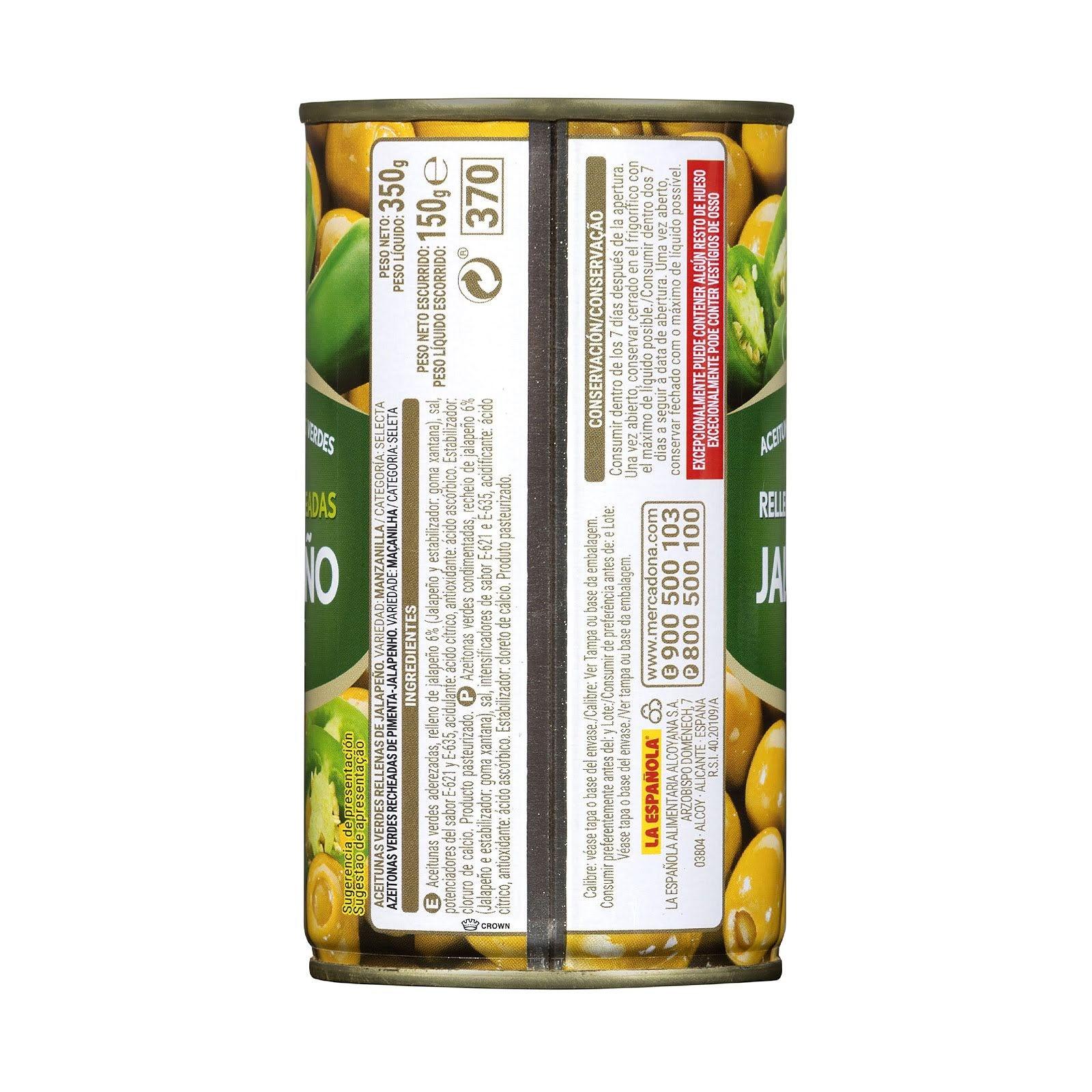 Aceitunas verdes rellenas de jalapeño Hacendado