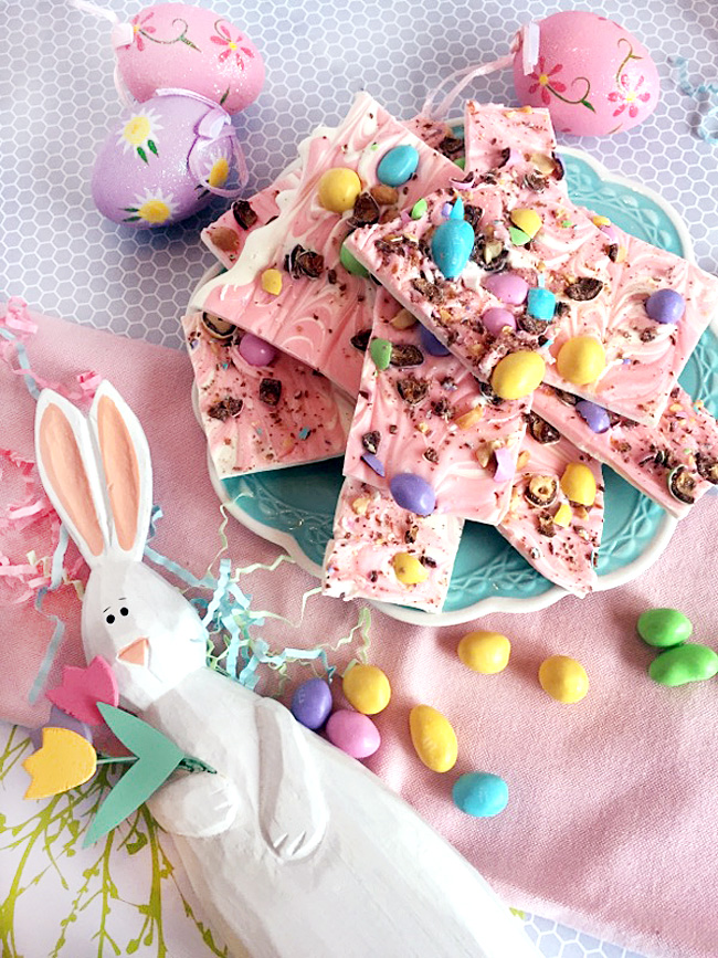 easter bunny, M&M'S®, pastel easter decor, how to make bark