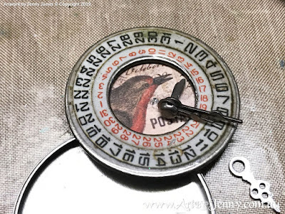 How to use Tim Holtz Idea-Ology Date Dials and Pocket Watches - mixed media art by Jenny James