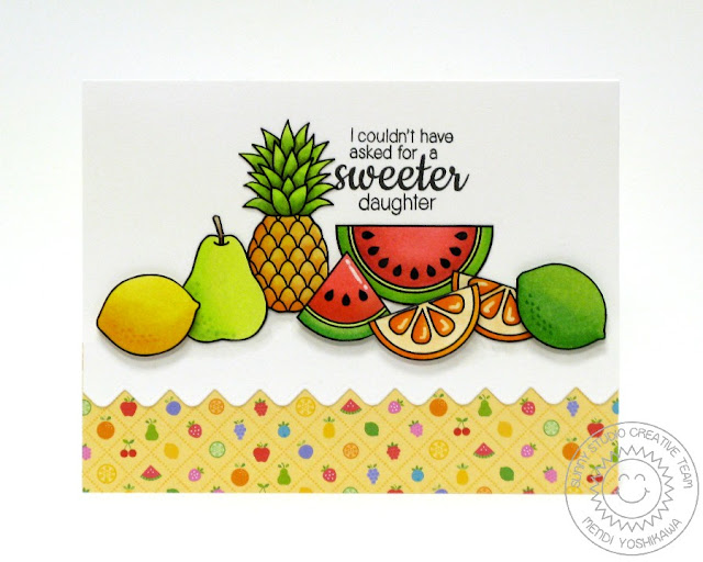 Sunny Studio Stamps Fresh & Fruity, Tropical Paradise & Sunny Borders Sweeter Daughter Fruit Card by Mendi Yoshikawa