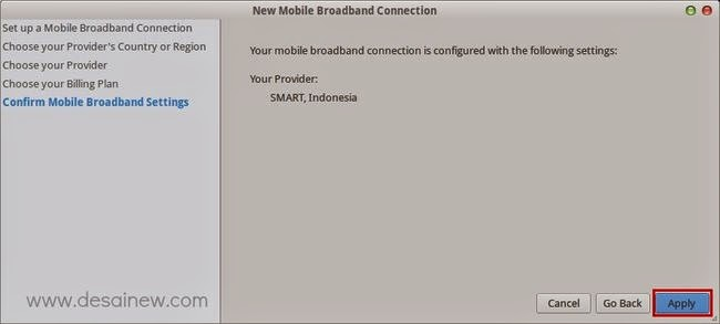 Konfirmasi Pengaturan Mobile Broadband