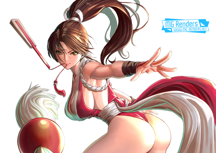 Tags: Anime, Render,  Armpit,  Bare shoulders,  From behind,  Huge Breasts,  Ninja,  Shiranui Mai,  The King of Fighters, PNG, Image, Picture