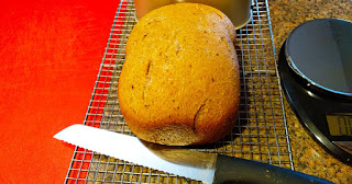 Whole wheat bread hot out of the bread machine