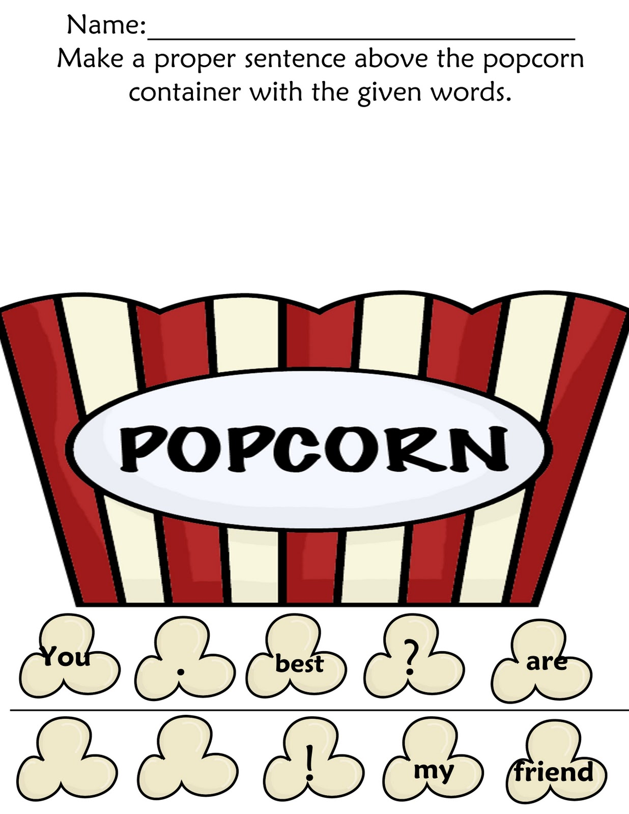 The Crazy Pre K Classroom Popcorn Letters Sight Words