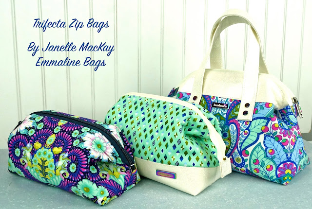 Trifect Zip Bags - a Sewing Pattern by Janelle MacKay of Emmaline Bags