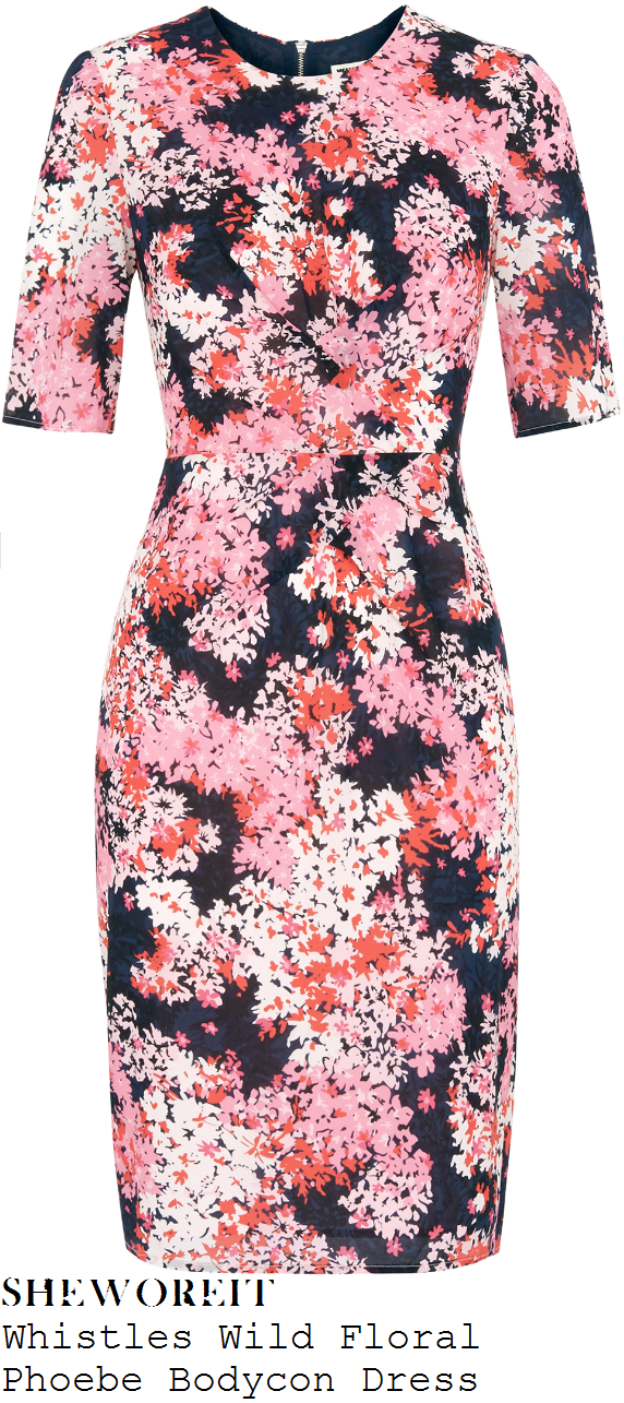 susanna-reid-pink-red-white-navy-blue-black-floral-print-half-sleeve-bodycon-dress-good-morning-britain