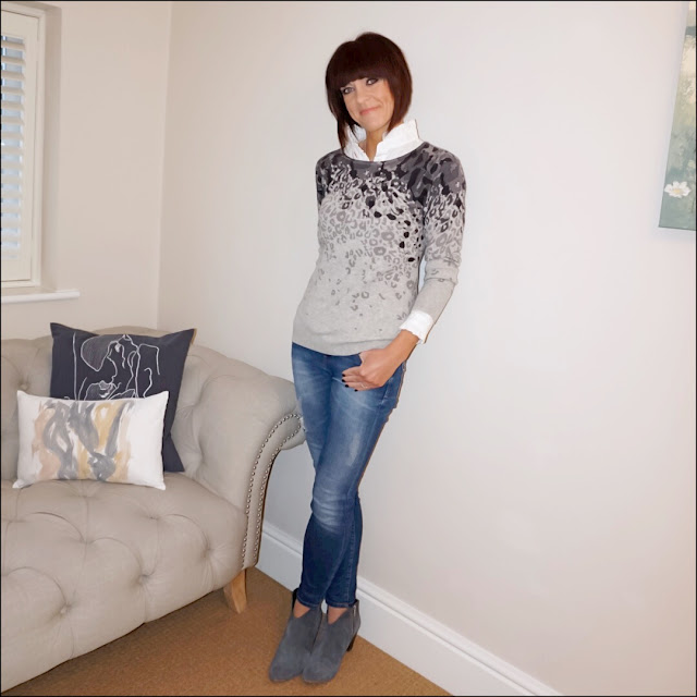 My Midlife Fashion, Cosy Cashmere printed wide neck leopard grey jumper, hush thornton ankle boots, zara distressed skinny jeans, uniqlo high collar frill blouse