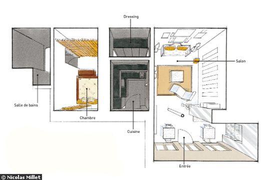 Boiserie c living small miniappartamento monolocale 40 mq cristalli specchi e gessi - Progetto casa 40 mq ...
