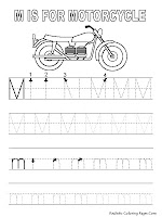 Alphabet Tracer Pages M Motorcycle