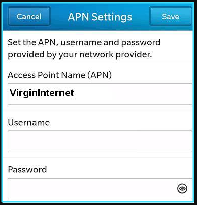 New Virgin Mobile apn settings blackberry