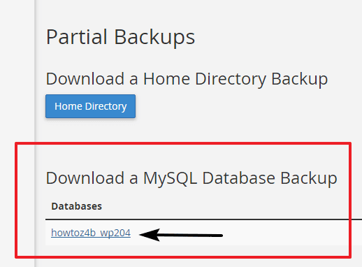 Download backup from cPanel